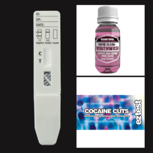 Cocaine Cuts EZ Test Kit + COC Saliva Test + Rapid Clean Mouthwash