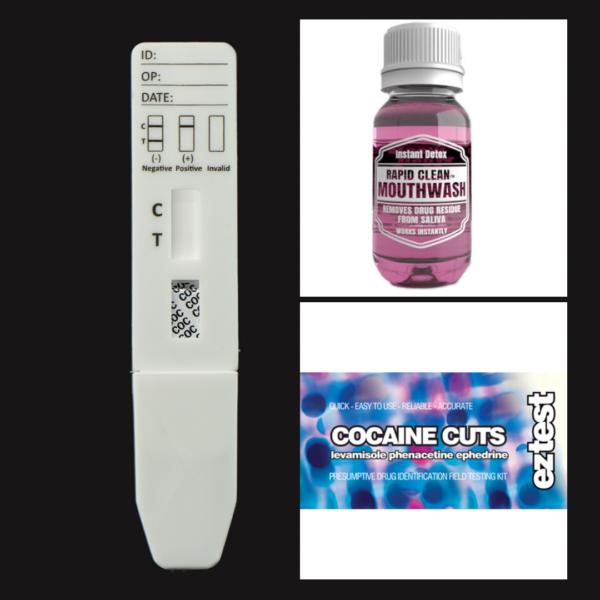 Cocaine Cuts EZ Test Kit + COC Saliva Test + Rapid Clean Mouthwash