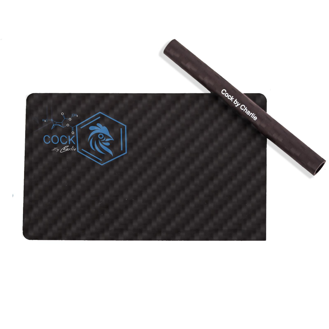 Pure Carbon Fibre Card and Straw in Luxury Box – Blue & White