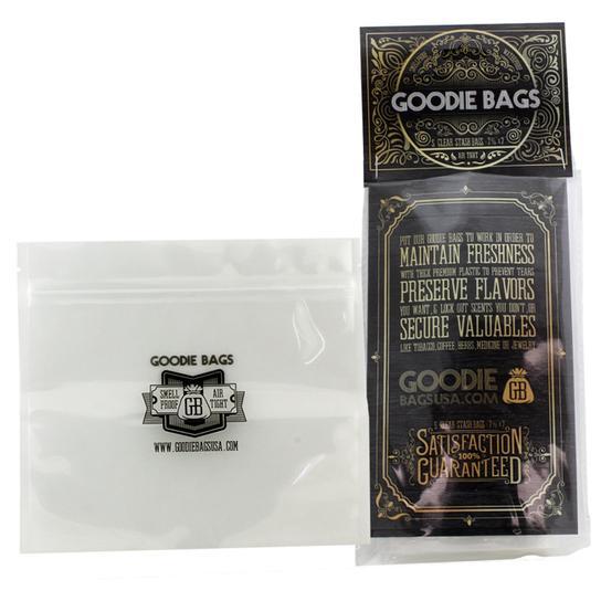 "Goodie Bags Smellproof Ziplock Bags - Large Clear (7 11/16"" x 7"") x5"