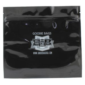 "Goodie Bags Smellproof Ziplock Bags - Large Black (7 11/16"" x 7"") x5"