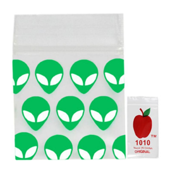 Original Apple Mini Ziplock Bags - Green Alien (25mm x 25mm) x100