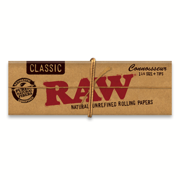RAW Classic Rolling Papers Connoisseur 1 ¼ + Tips