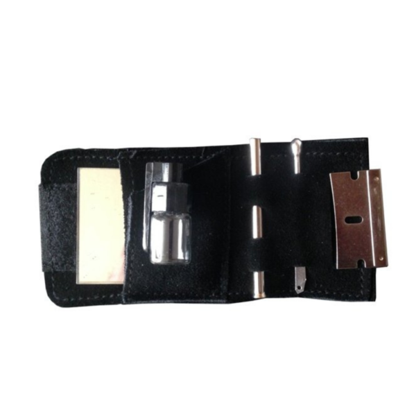 Snuff Kit In Leather Pouch - Black