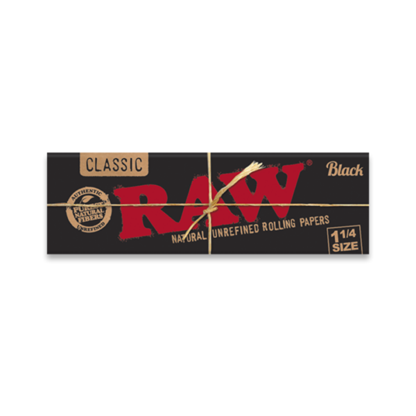 RAW Classic Black 1¼ Size Natural Unrefined Rolling Papers - 50 Leaves