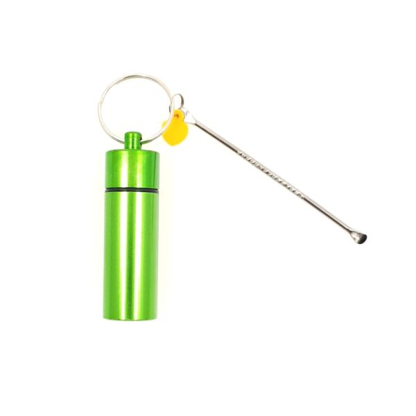Aluminium Premium Snuff Container with attached Chain and Spoon