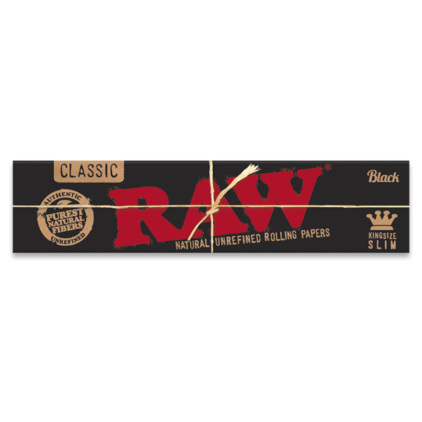 RAW Classic Black King Size Natural Unrefined Rolling Papers – 32 Leaves
