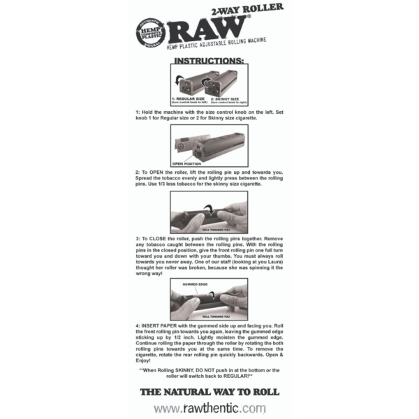 RAW 2-Way Hemp Plastic Roller – 70mm and 79mm