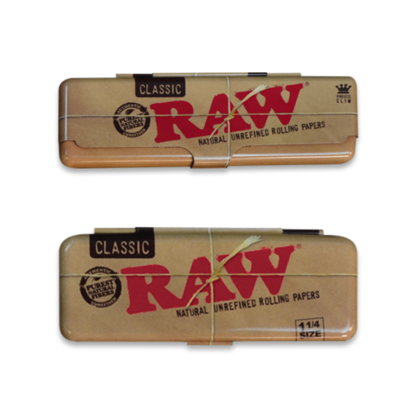 raw classic metal rolling paper case