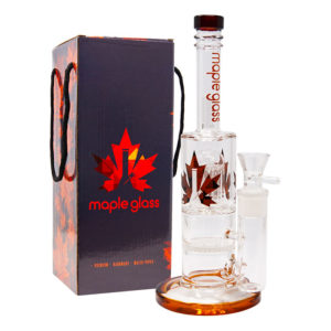 Maple Glass Honey Comb With Tree Percolator & Splash Guard Maple Glass Water Pipe – Amber