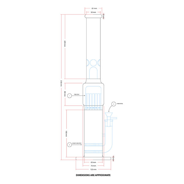 "Maple Glass Double Honey Comb Perc With Tree Perc & Splash Guard 20""/50.8cm – Blue"