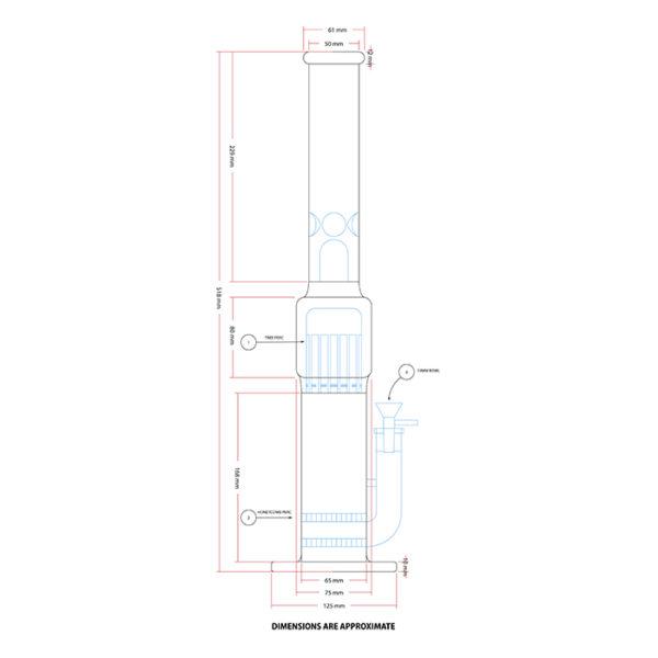 "Maple Glass Double Honey Comb Perc With Tree Perc & Splash Guard 20""/50.8cm – Grey"