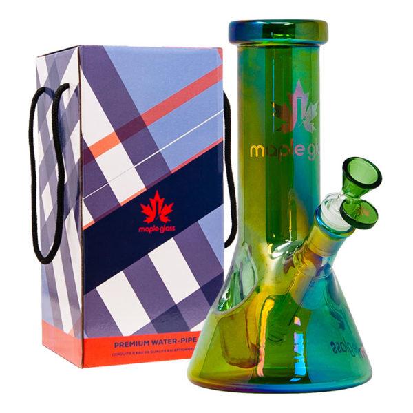 """Maple Glass Fire Starter Green Beaker Bong 9""""/23cm"""