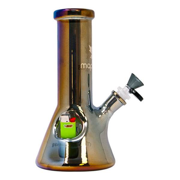 """Maple Glass Fire Starter Gray Beaker Bong 9""""/23cm"""