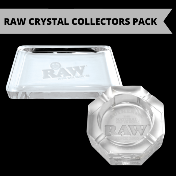 Raw crystal glass rolling tray + Raw Crystal glass Ashtray collectors pack