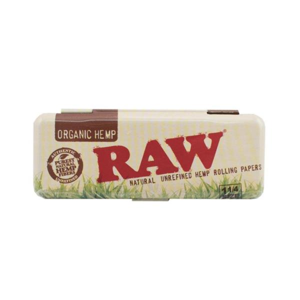 RAW Organic Hemp Metal Rolling Paper Case 1 ¼ & Kingsize Slim